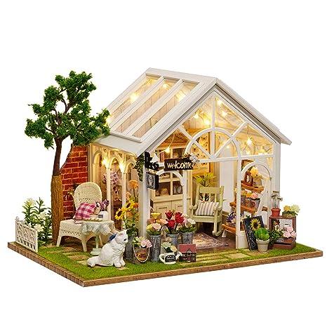 Amazon Com Yamix Diy Wooden Dollhouse Kit Miniature Toy House