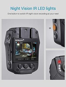 Boblov Cuerpo de Policía Worn Cámara de Vídeo Visión Nocturna Infrarroja 1080P HD Advierte Las Videocámaras La Grabadora De Voz Video 32GB TF: Amazon.es: ...