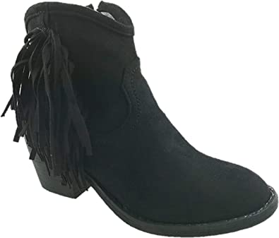 LADIES FAUX SUEDE//SYNTHETIC ZIP UP BUCKLE DETAIL COWBOY ANKLE BOOTS BLACK UK 3-8