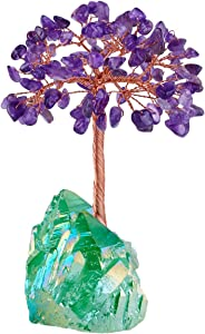 SUNYIK Natural Amethyst Money Tree Wrapped on Green Titanium Coated Crystal Cluster Base Bonsai Sculpture Figurine 2.3 Inches