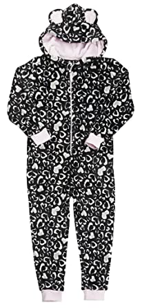 f927d824f Girls Luxury Flannel Fleece Heart Pink Black Cream White Onesie ...