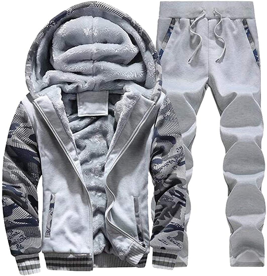 MK988 Mens Athletic Tracksuit Full Zip Hooded Top Warm Jogging Sweat Suits
