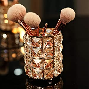 VINCIGANT Handcrafted Crystal Makeup Brush Holder Organizer Bling Personalized Pencil Cup Collection Cosmetic Storage Organizer for Vanity,Bathroom,Bedroom,Office Desk