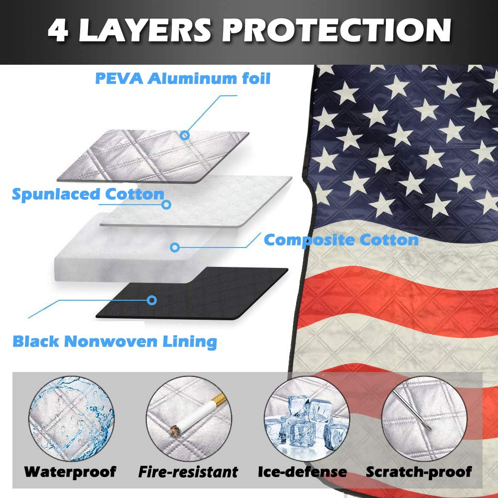 Big Hippo Windshield Snow Cover, American Flag Windshield Cover and Mirror Covers for Storage Ice Protector Windproof Car Cover in All Weather, Fit for Cars, Trucks, SUV, Vans Vehicle