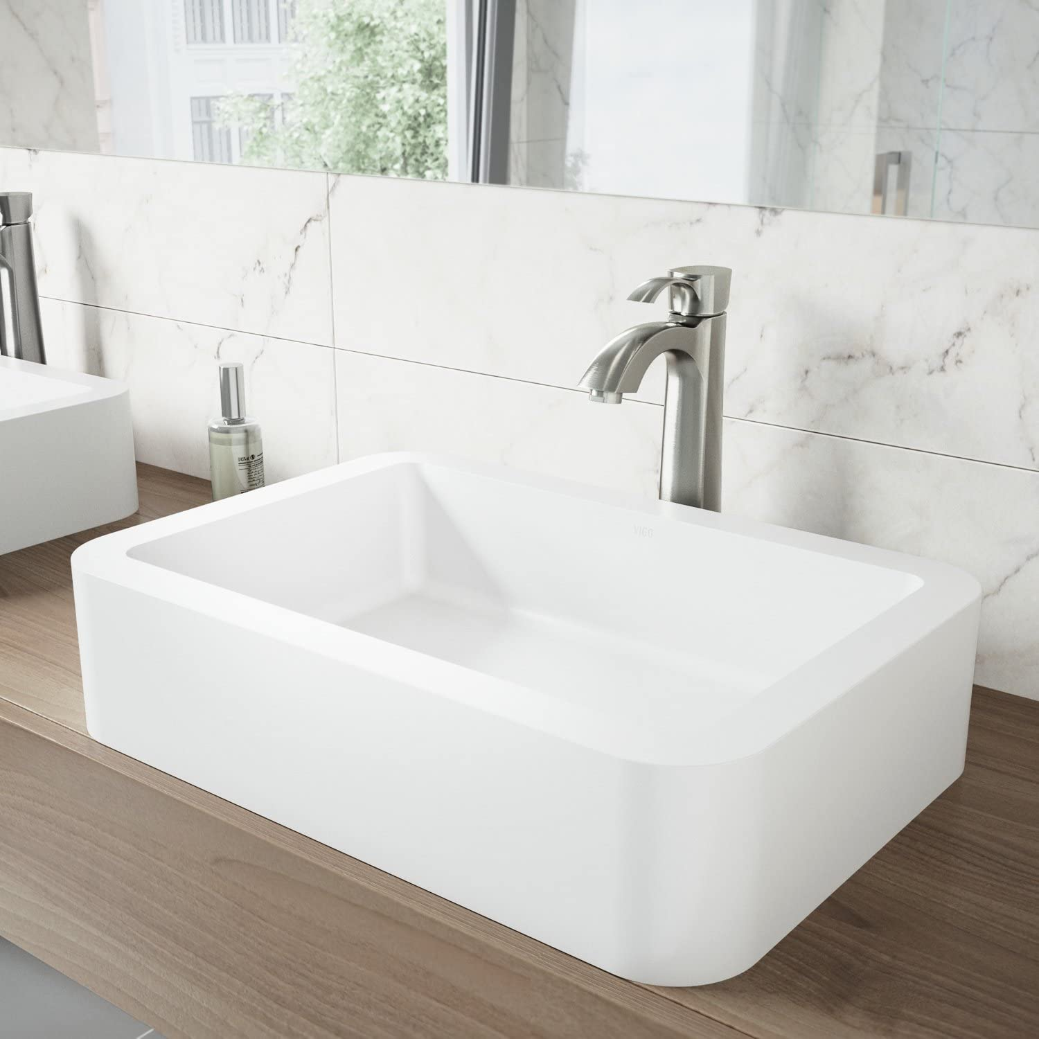 VIGO Petunia Rectangular White PMMA Matte Stone Vessel Bathroom Sink, Non-Porous, Solid Core, Stain Resistant Bowl, Matte White Finish
