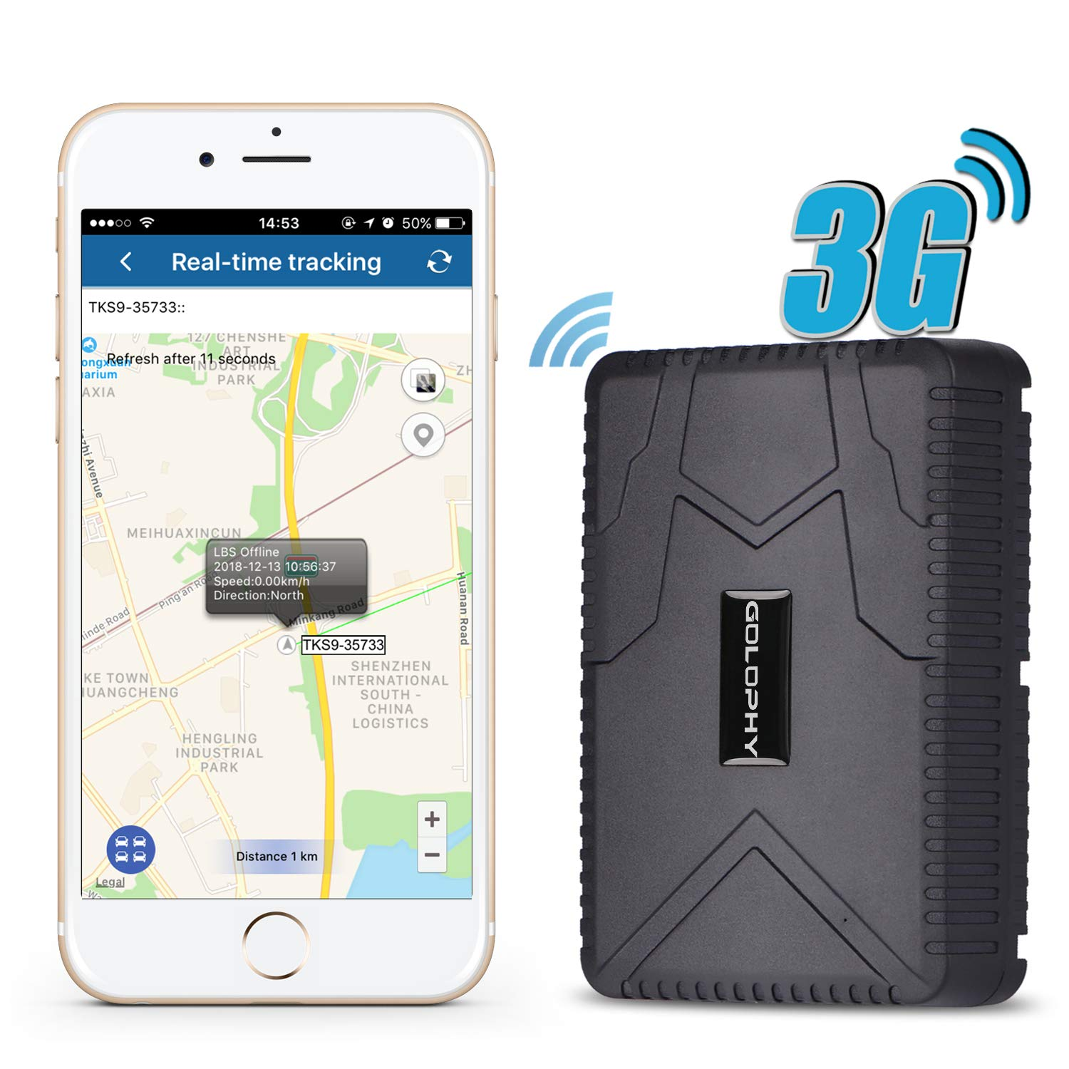 Car GPS Tracker-Real Time Car Tracker Locator Device Voice Monitor for Car Truck Vehicle Van Strong Magnet Waterproof Anti-Lost Falling Alarm Geo-Fence Remove Alarm 10000mAh