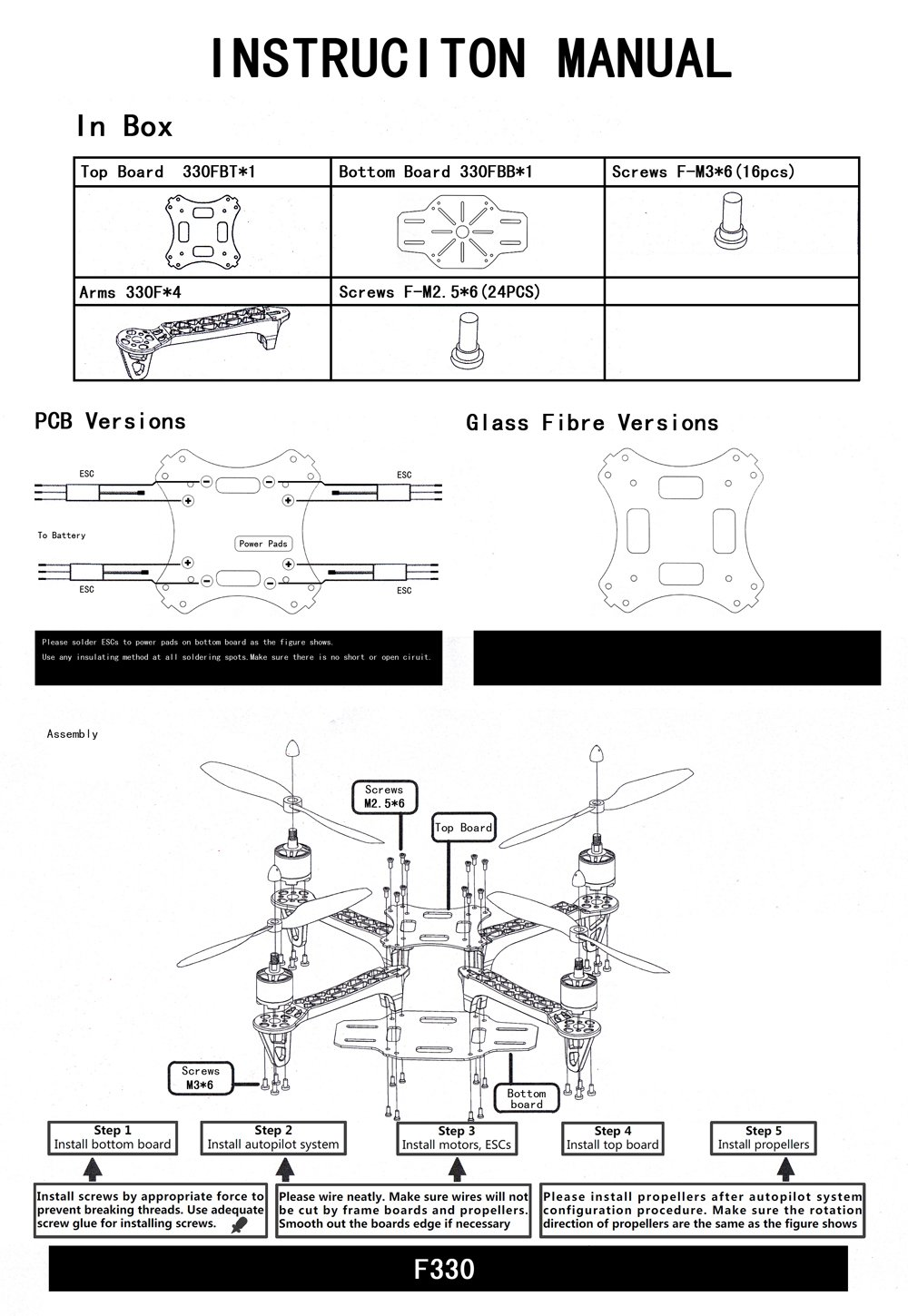 F330 330mm Mini 4 Axis Quadcopter Aircraft Shaft Rack Flamewheel F450 Wiring Diagram Frame Glass Fiber Center Pdb Board For Diy Fpv Racing Spare Part Toys Games