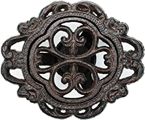 Sungmor Cast Iron Teapot Warmer Dish Cups Heater Pot Trivet - Rustic & Graceful Pattern Design with Tealight Holder - Heavy Duty & Decorative Candle Holder Stands for Heat Food Coffee Milk or Tea