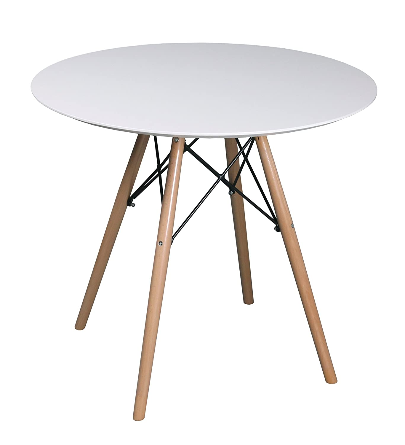 ASPECT COMO ROUND DINING TABLE-White Wooden Top With Beech Wood Legs (White/Natural, 80 dia x 73(H) cm)