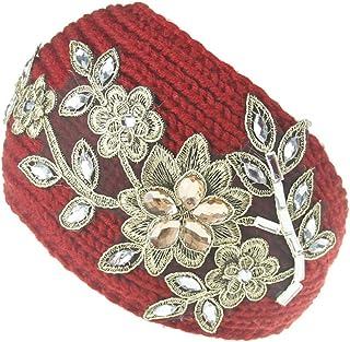 Hustar Strass Fleur Bandeau Cheveux Bandeau de Tête Elastique Tricot Large Turban Bande pour Hiver Rouge