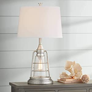 Fisher Nautical Table Lamp with Nightlight LED Edison Bulb Galvanized Metal Cage Drum Shade for Living Room Bedroom