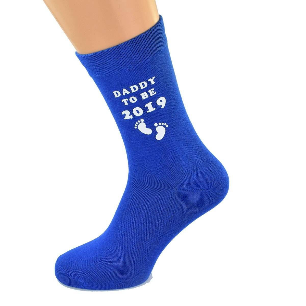 Daddy to Be 2019 and Foot print Design Printed on BLUE Mens Socks Great for New Baby Present for Dad MC Gifts DADDY TO BE 2019 BLUE