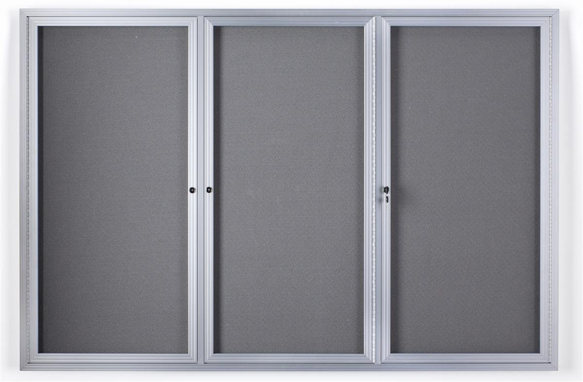 6' x 4' Enclosed Bulletin Board with Fabric Interior, 3 Separate Locking Swing-Open Doors, 72'' x 48'' Wall-Mounted Tack board - Silver Aluminum Frame with Light Gray Interior