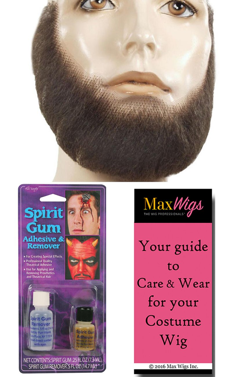 M55 Full Face Beard Color Ash Blonde - Lacey Wigs Human Hair Lace Backed Hand Made Fake Facial Amish Bundle w/ Spirit Gum and Remover, MaxWigs Costume Wig Care Guide Lacey Costume