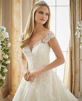 LUCKY-U Vestidos de novia Mujer Vestido de novia Tirantes Hombro Cordón Formal Long Maxi