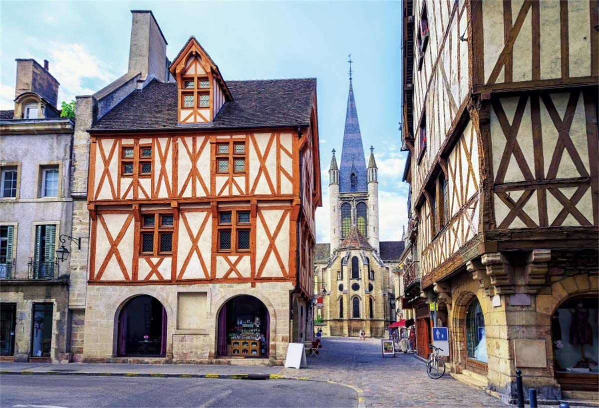 YEELE 12x8ft Ancient City Street Backdrop Famous Gothic Church in Old Town Photography Background Scenic Spot Tourist Attractions Holiday Travel Kids Adults Artistic Portrait Photoshoot Props