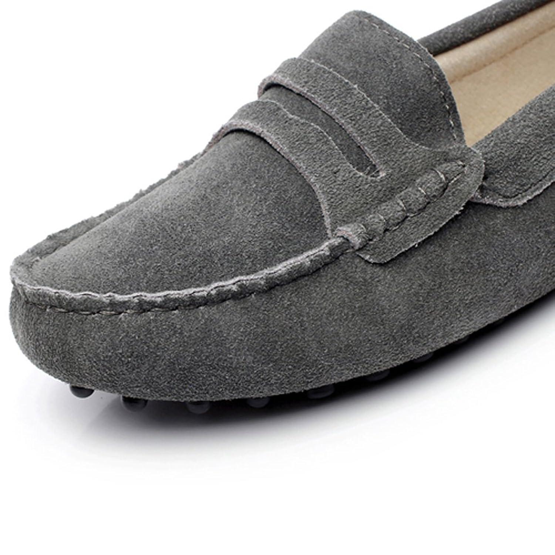 Generic Damen Mode Schlüpfen Mokassins Beiläufig Wildleder Halbschuhe Schuhe 24208(Schokolade,EU37)