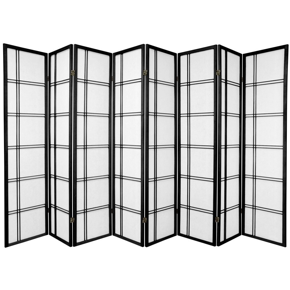 Oriental Furniture Extra Big Large Wide Room Dividers Collapsible Partiton 8 Panel Black 6-Feet Double Cross Folding Shoji Privacy Floor Screen