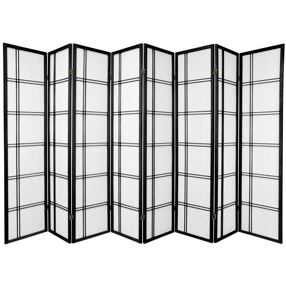 Oriental Furniture 6 ft. Tall Double Cross Shoji Screen - Black - 8 Panels