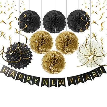 happy new year party decorations happy new year banner black gold tissue paper pom pom gold