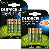 Duracell 8X Stay Charged Pre Charged Ready To Use Rechargeable NiMH Battery Pack of 8, 850 mAh 1.2 V AAA