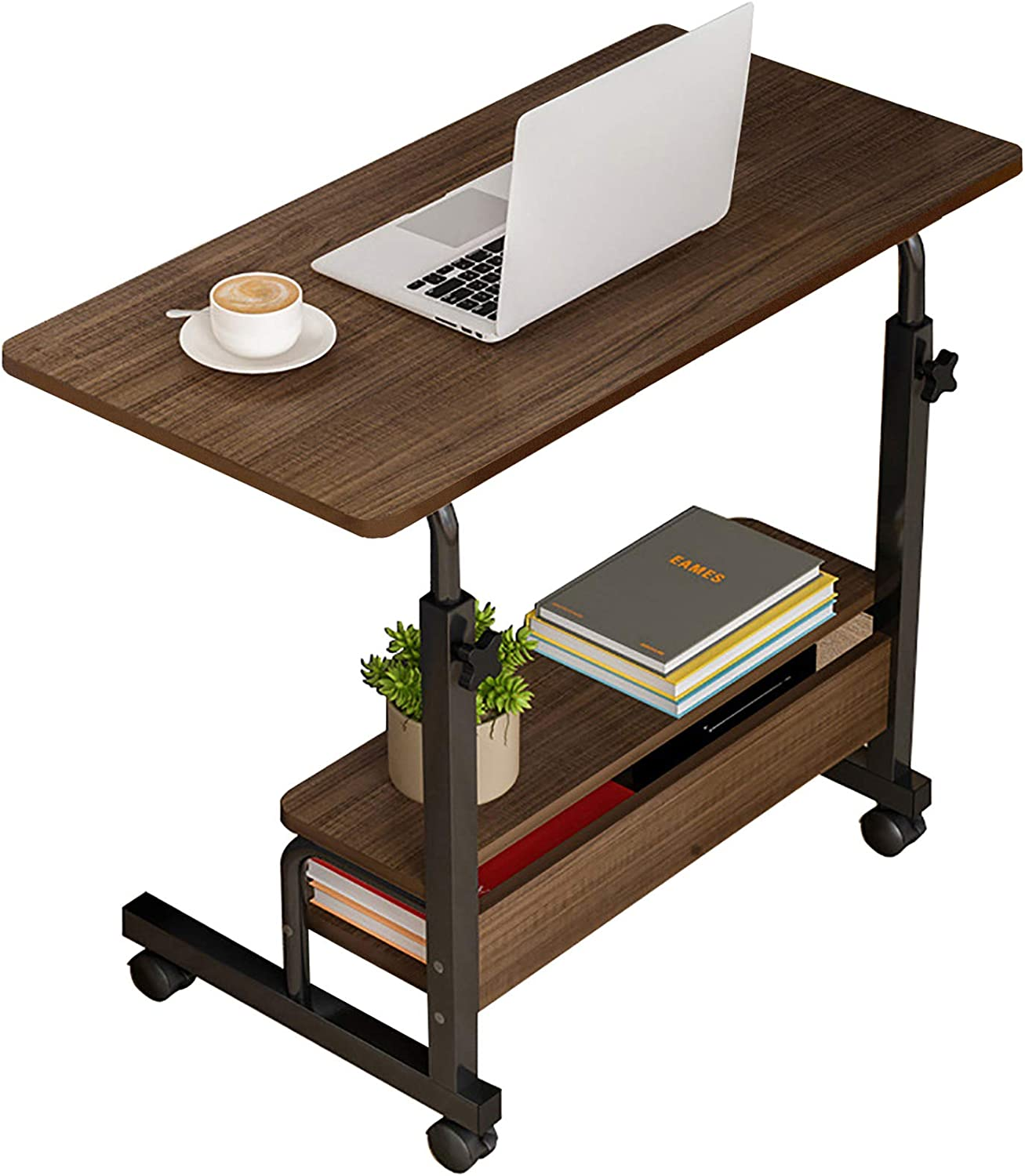 Computer Desk Home Office Desks, Standing Adjustable Laptop Desk for Small Spaces, Portable Work Writing Study Desk Table, Modern Pc Gaming Desk with Storage for Bedroom, Desktop Size 31.5x15.7 inch