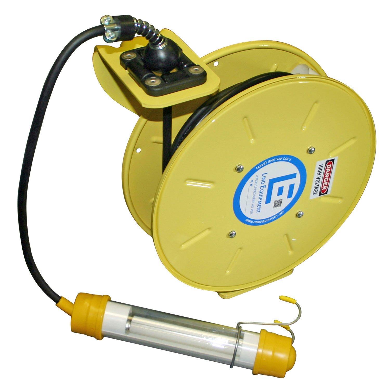 Lind Equipment LE9050163F1 Heavy Duty Cord Reel, 50ft, 16/3 SJOW, fluorescent hand lamp, NEMA4, all-steel