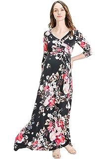ed8d1c36eb419 Hello MIZ Women's Floral Print Draped 3/4 Sleeve Long Maxi Maternity Dress
