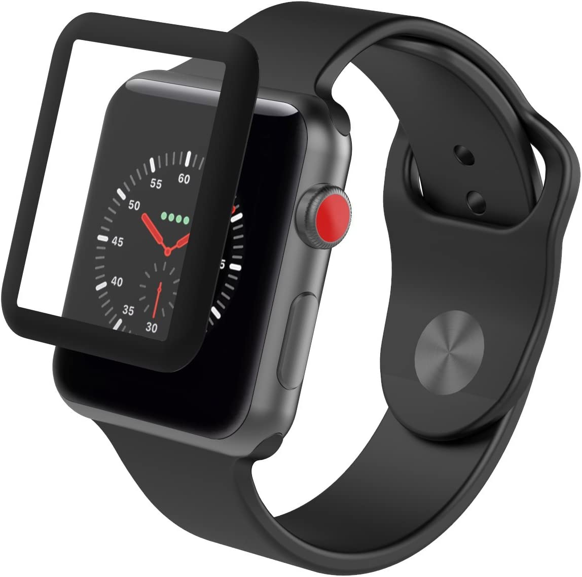 ZAGG InvisibleShield Glass Luxe HD Clarity + Reinforced, Tempered Glass Screen Protector for Apple Watch (38mm) Series 3 - Black
