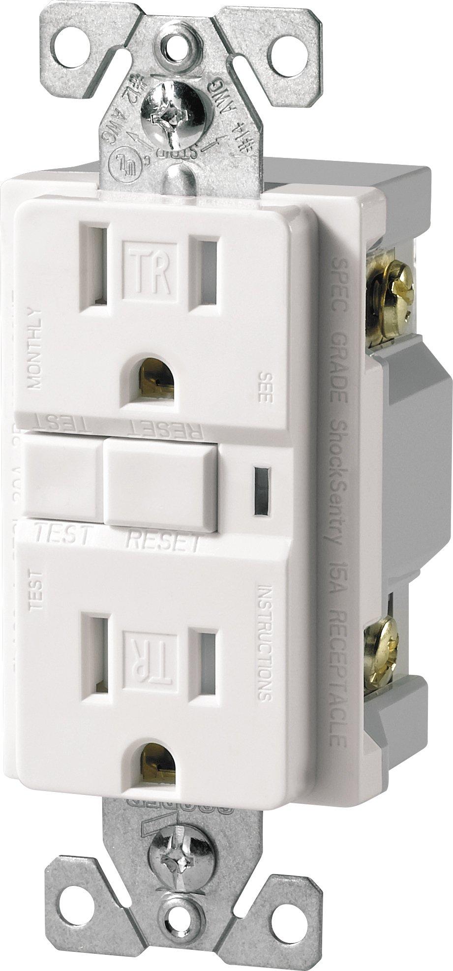 Eaton TRVGF15W Tamper Resistant GFCI Decorator Duplex Receptacle, White