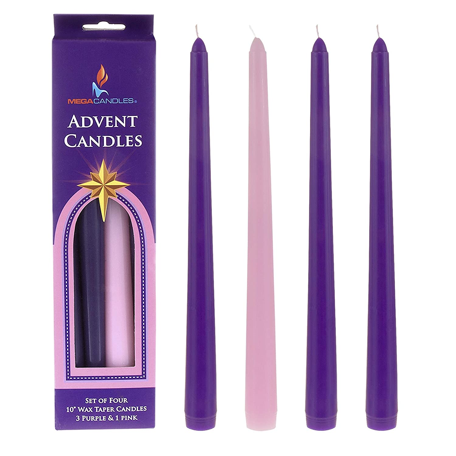 Mega Candles 4 pcs Unscented 10 Inch Christmas Advent Taper Candle, Holidays, Church, Celebration, Party, Home Décor & More