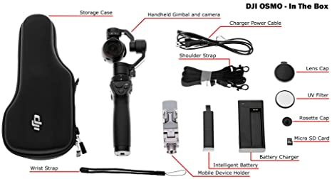 DJI OM160 Osmo Handheld 4K Camera and 3-Axis Gimbal (Jet Black) Action Cameras at amazon