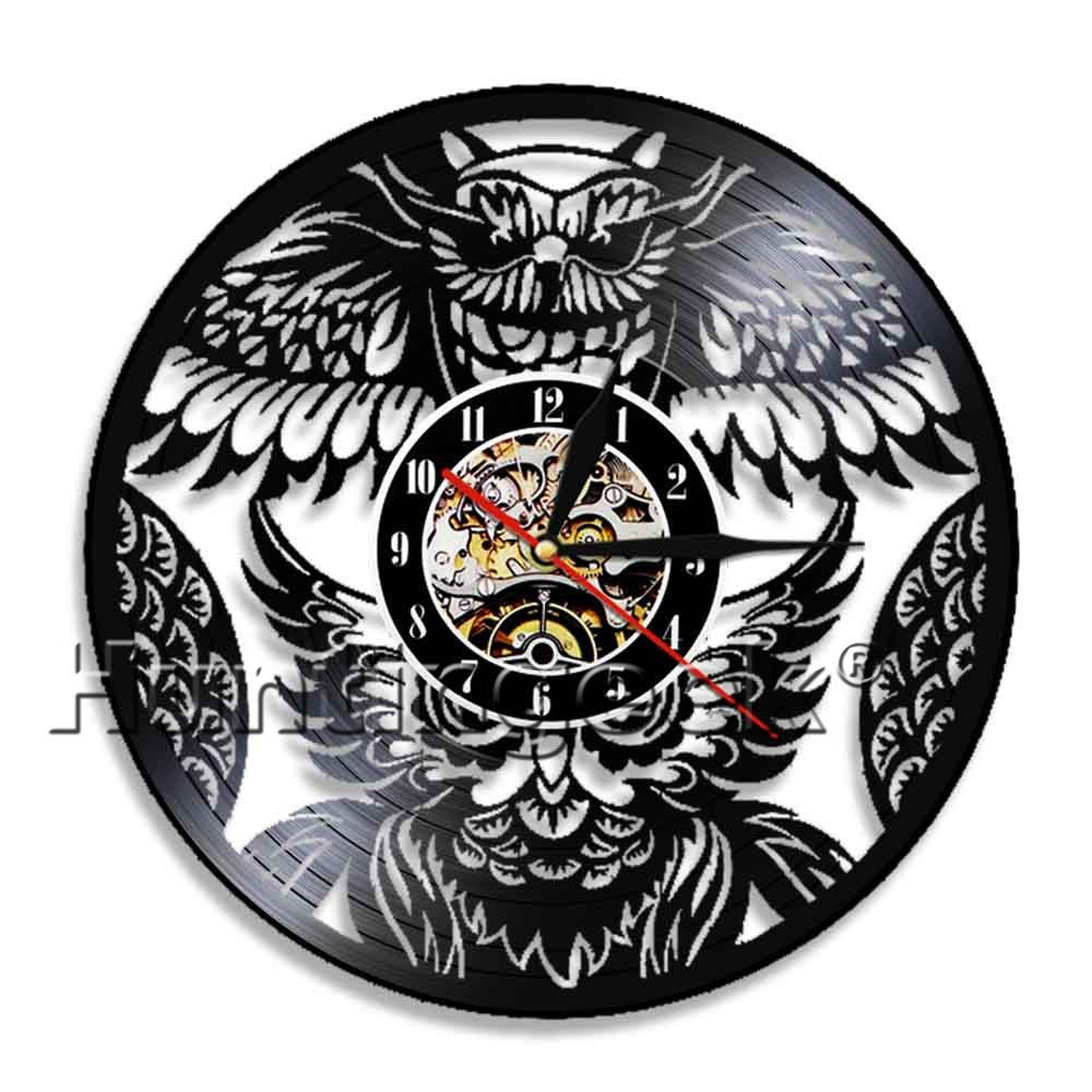 Owl Retro Wall Clock Bird Wall Art Vinyl Record Clock Beatiful Bird Housewarming Gift For Animals Lover Kid Room Nursery Wall Decor (Without LED)