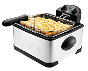 Chefman Deep Fryer with Basket Strainer Perfect for Chicken, Shrimp, French Fries and More, Removable Oil Container and Rotary Knob for Adjusting the Temperature, 4.5 Liter