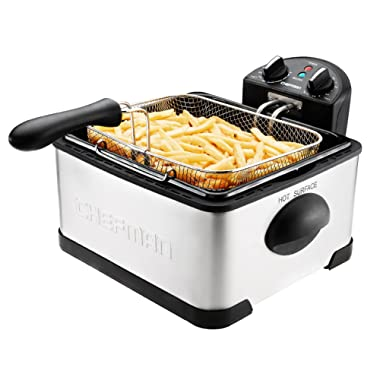 Chefman Deep Fryer w/Basket Strainer Perfect For Chicken, Shrimp, French Fries & More, Removable Oil Container & Rotary Knob for Adjusting The Temperature, Stainless Steel, XL, 4 Liter
