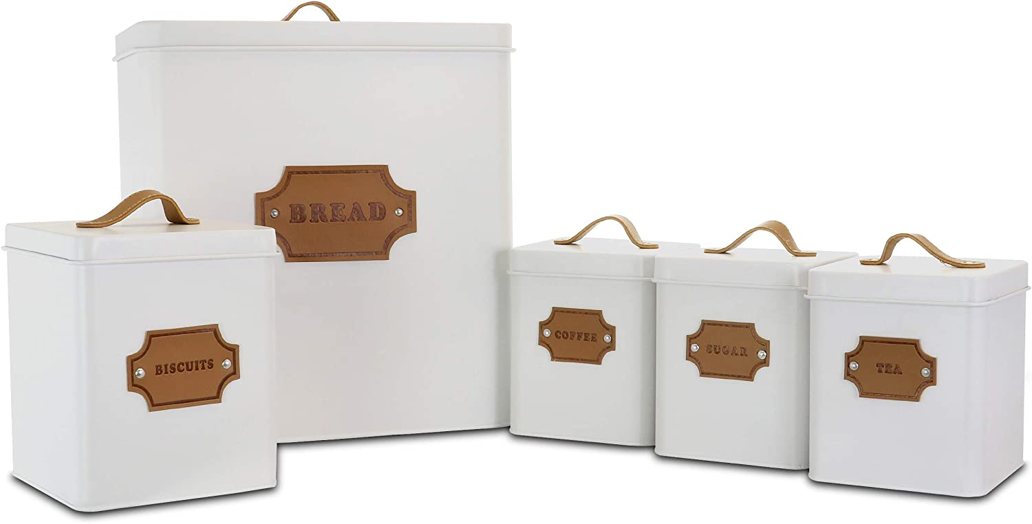 Megachef Storage and Organization Food and Coffee Canister Set Collection, 5 Piece, Matte White