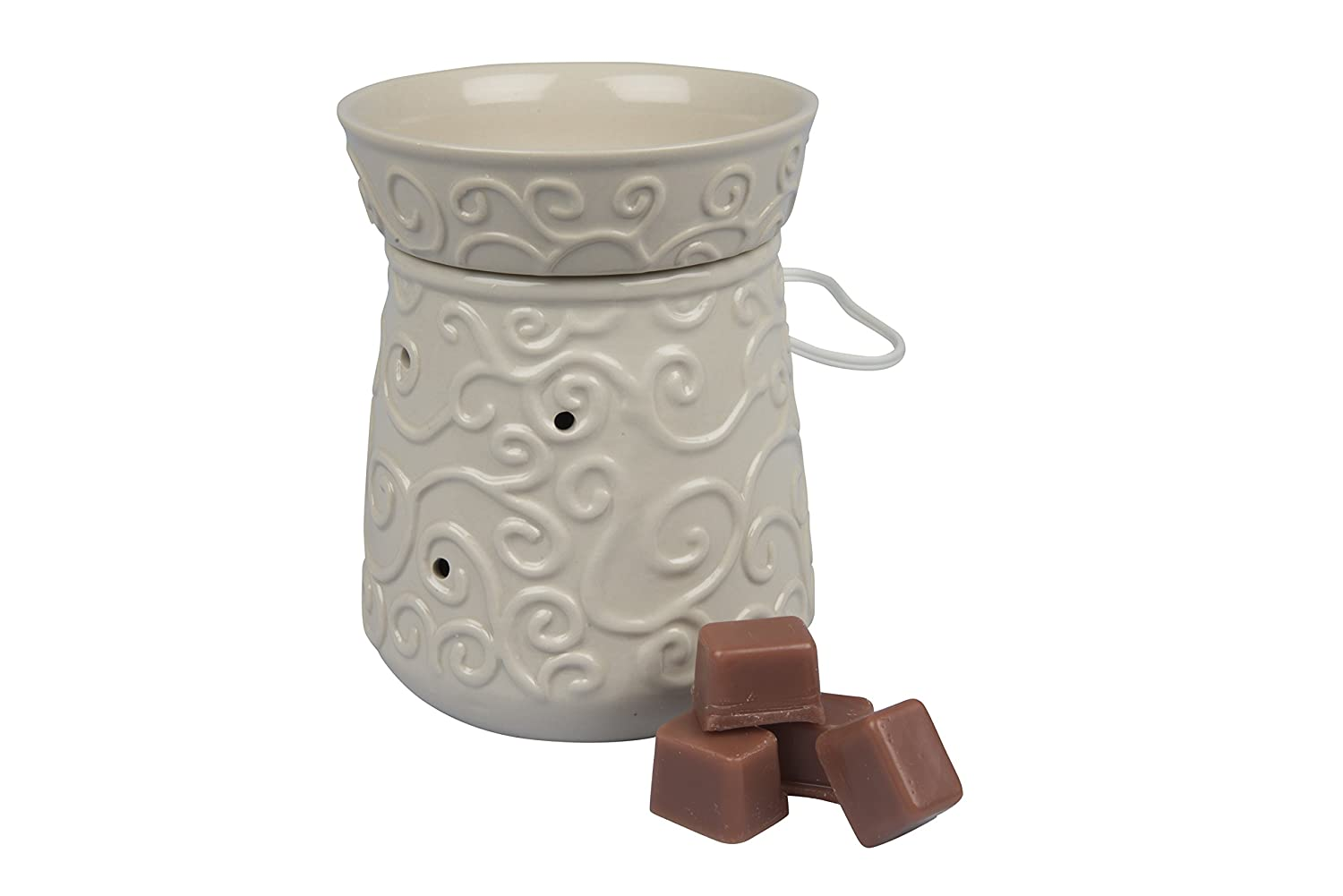 "Deco Electric Candle Warmer, Wax & Tart Warmer, Includes 4 Wax Cubes and Halogen Bulb (4.5""x4.5""x6"")"