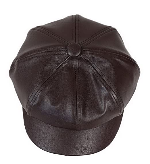 f18c6ca4d6e Image Unavailable. Image not available for. Color  Bigood Women Fashion PU  Leather Solid Ascot Ivy Newsboy Cap Berets ...