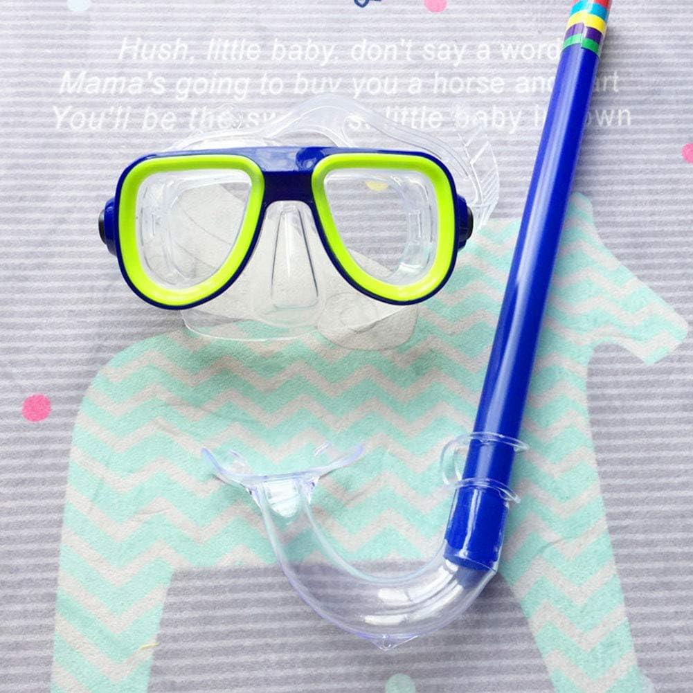 1set Enfants en S/écurit/é Plong/ée en Apn/ée Masque De Plong/ée sous-Marine Snorkel Set Piscine Set Sports Nautiques pour Enfants 3-8 Ans Vert
