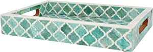 Handicrafts Home Moorish Moroccan Pattern Inspired Trays – Ideal Ottoman Tray – Multipurpose Bone Inlay Serving Tray or Simply Use as a Decorative Trays (12x8 Inches, Green)