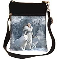 Nemesis Now Winter Guardians Anne Stokes Shoulder Bag 23cm White, PU and Canvas, One Size