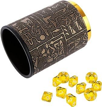 sharprepublic 10 Piezas Azules Diez Dados D10 Lados con La Taza 1 Dados para Juegos De D & D Trpg Partido - Amarillo: Amazon.es: Juguetes y juegos