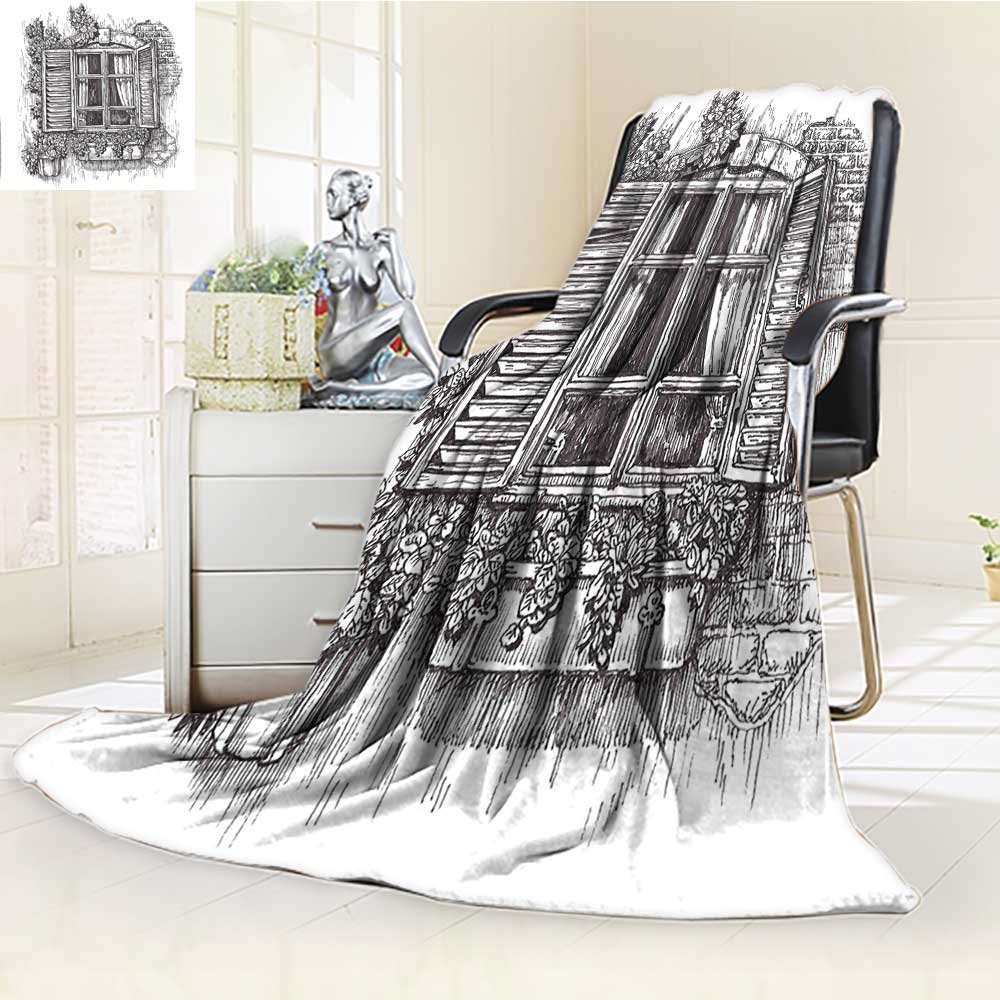 YOYI-HOME Cotton Thermal Duplex Printed Blanket,Scenery Sketchy Art Window Old Abandoned Window Design with Blinds and Flowers Black and White Soft and Breathable Cotton/W79 x H47