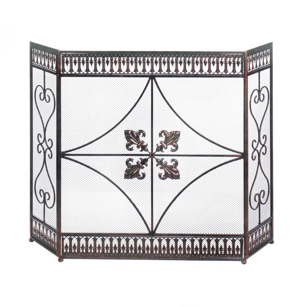 Accent Plus Fireplace Screens, Rustic Decorative Cast Iron Fireplace Screen