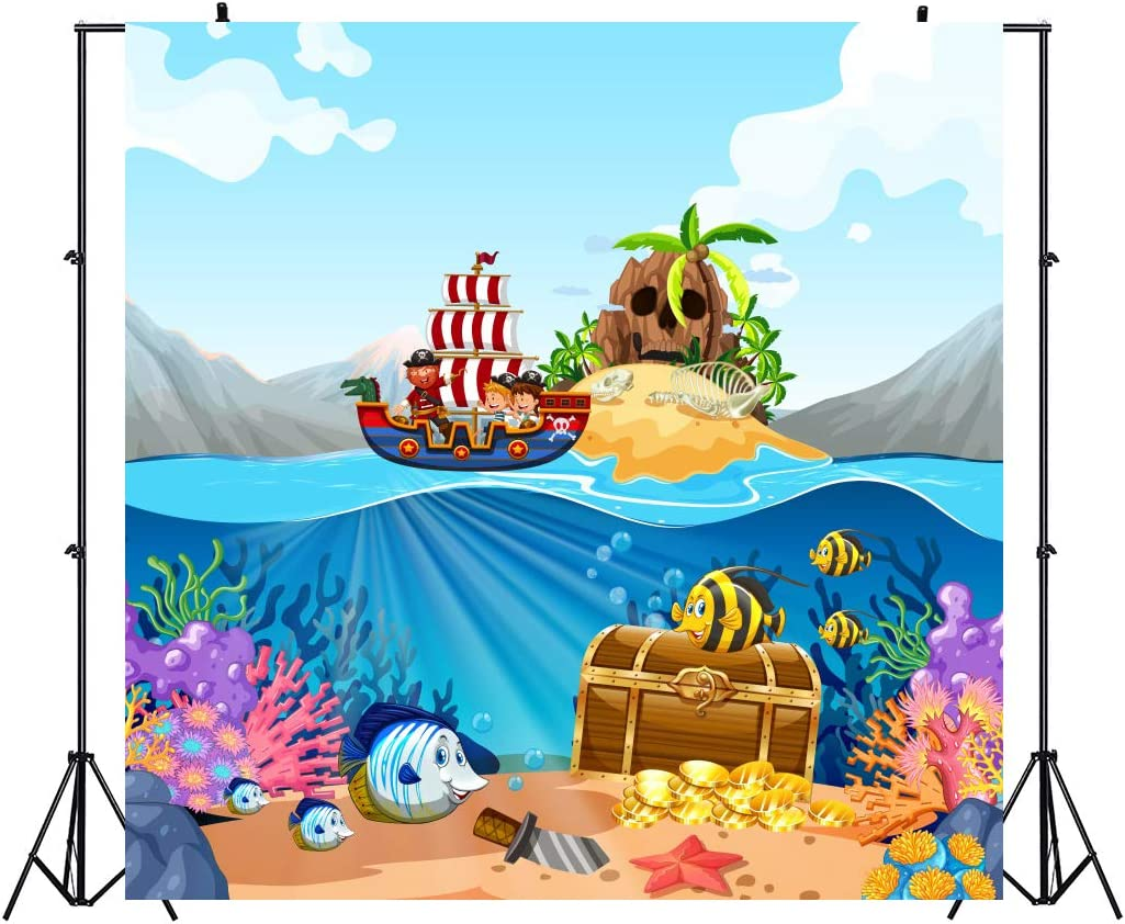 8x6.5ft Wonderful Undersea World Background Polyester Cartoon Underwater Sea View Backdrop Tropical Fishes Treasure Gold Coins Green Seaweed Seabed Light Beam Childish Photo Kids Birthday Banner
