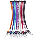 Soleebee 31.5 inches Bling Rhinestones Leather Neck Strap Lanyard Retractable Badge Reel with Breakaway Safety Clasp (Pack of 9)