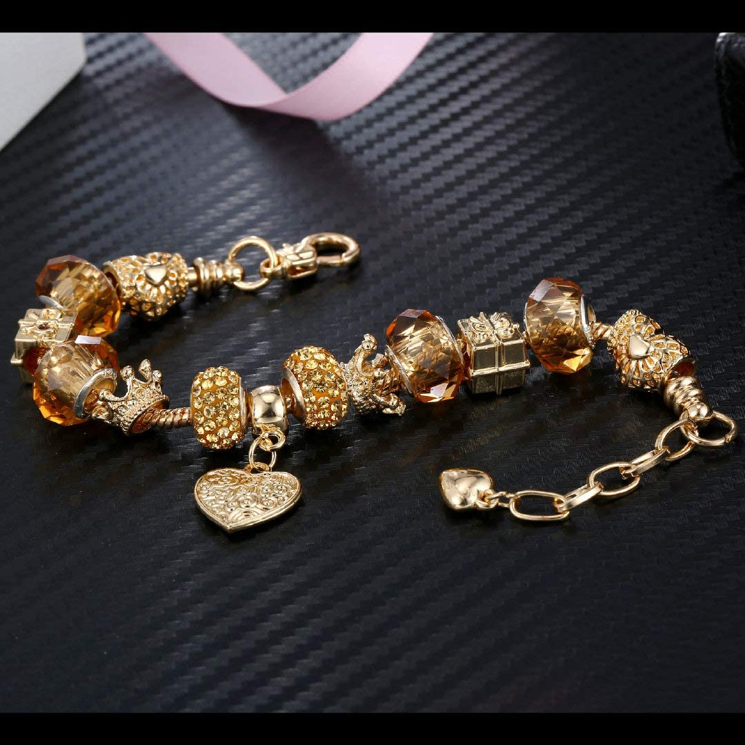 Hottime Adjustable Charm Bracelet for Women Handmade Carved Chain Wristband Gift for Mothers Day