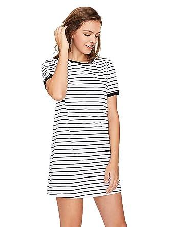 c043f0d308 SheIn Women's Short Sleeve Crew Neck Shift Striped T-Shirt Dress X-Small  White