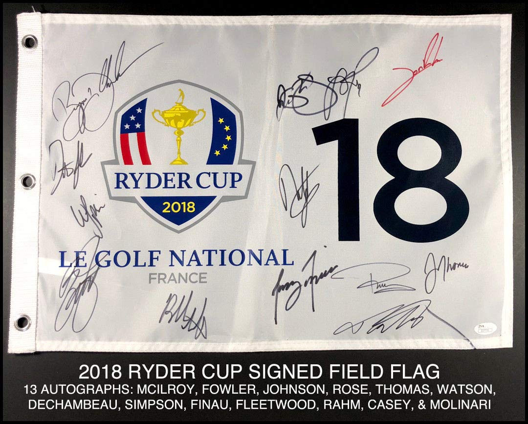 2018 Ryder Cup Autographed Signed Field Flag Mcilroy Fowler Johnson Rose JSA Authentic