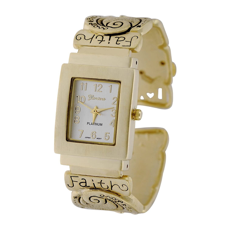 Amazon.com: Geneva Platinum Womens Faith Hope Love Cuff ...